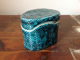 Ceramic Hand Crafted Artisan Jar Trinket Box Deep Sea Green 1999 SVSH - $34.64