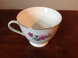 Ceramic China Tea Cup set with Floral Design Gold Tone Accents Pink Flowers