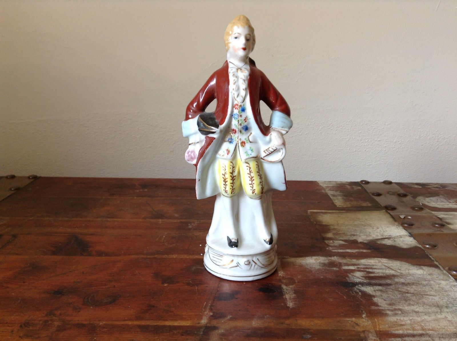 Ceramic Japanese Figurine Man in Red Coat Tall Hand Painted Vintage
