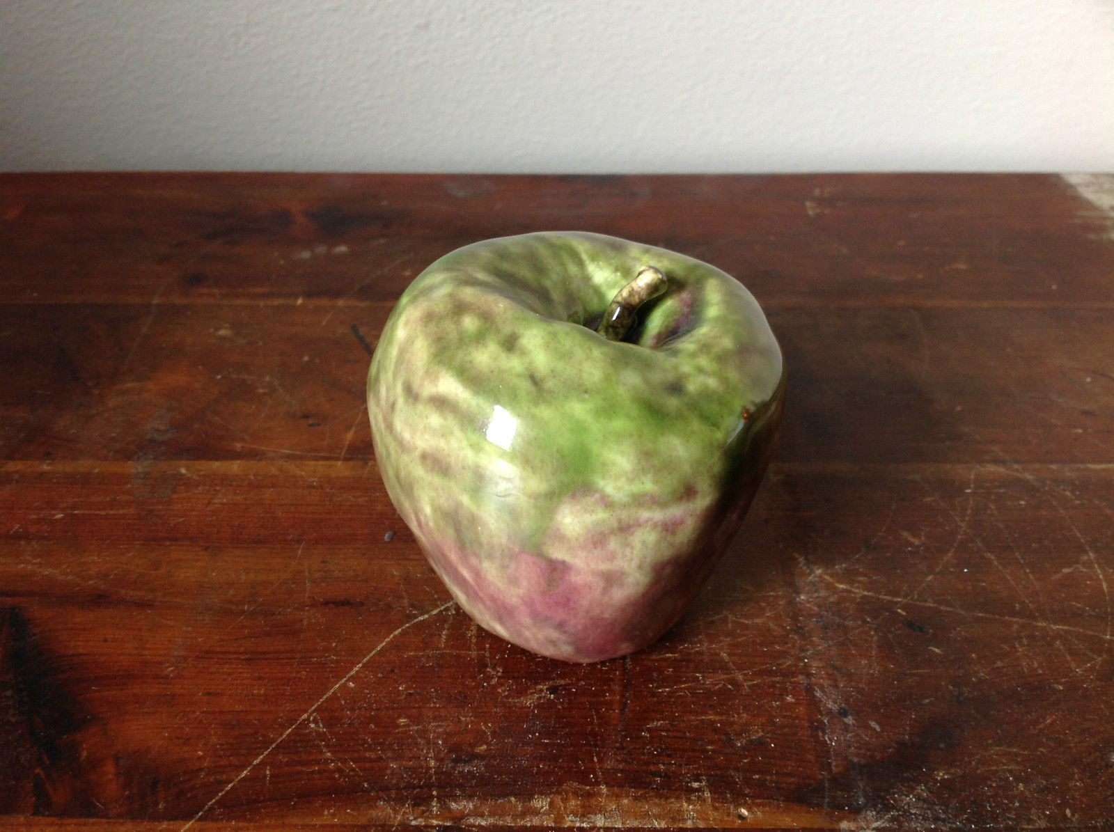 Ceramic Handcrafted Artisan Green and Purple Apple Glazed Decoration