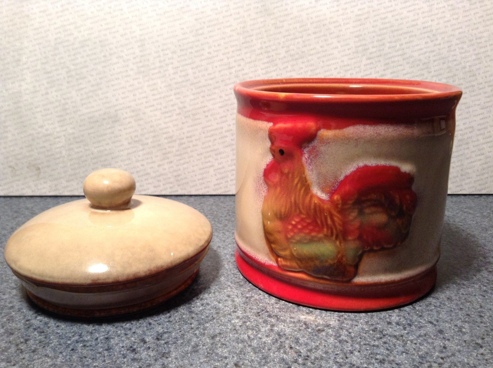 Ceramic Light Brown and Red Canister with Air Tight Lid Rooster on Front