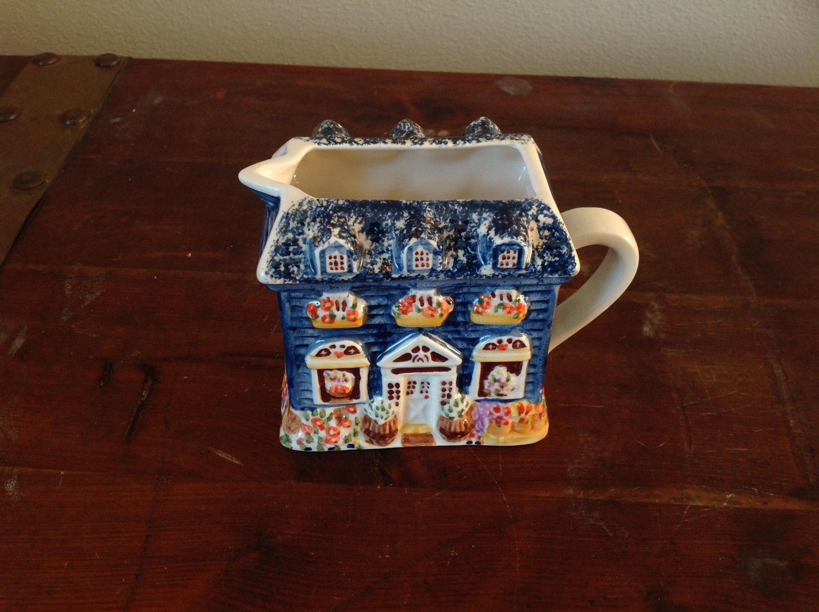 Ceramic Hand Painted Creamer with Spout and Handle Shaped to Look Like a House