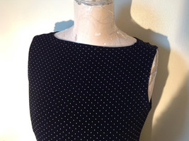 Black with White Dots Dressy Blouse NO TAG Sleeveless See Measurements Below image 10
