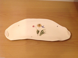 Ceramic Handmade Hand Painted Odd Shape Decorative Serving Plate Dish Flowers