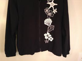Black with White Flowers Full Zipper Front Light Fabric Size PL Jacket Teddi image 3