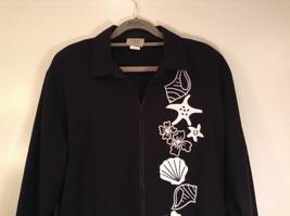 Black with White Flowers Full Zipper Front Light Fabric Size PL Jacket Teddi image 2