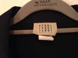 Black with White Flowers Full Zipper Front Light Fabric Size PL Jacket Teddi image 4