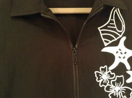 Black with White Flowers Full Zipper Front Light Fabric Size PL Jacket Teddi image 6