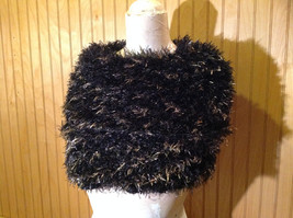 Black with Gold Specks Fuzzy Circle Scarf Can Be Worn Multiple Ways NO TAGS image 3