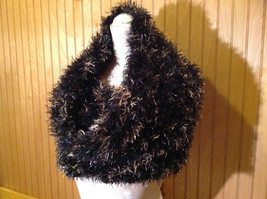 Black with Gold Specks Fuzzy Circle Scarf Can Be Worn Multiple Ways NO TAGS image 2