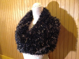 Black with Gold Specks Fuzzy Circle Scarf Can Be Worn Multiple Ways NO TAGS image 4