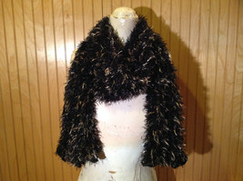 Black with Gold Specks Fuzzy Circle Scarf Can Be Worn Multiple Ways NO TAGS image 6