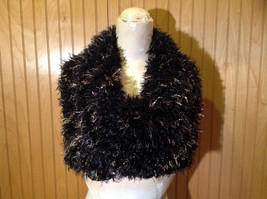 Black with Gold Specks Fuzzy Circle Scarf Can Be Worn Multiple Ways NO TAGS image 5