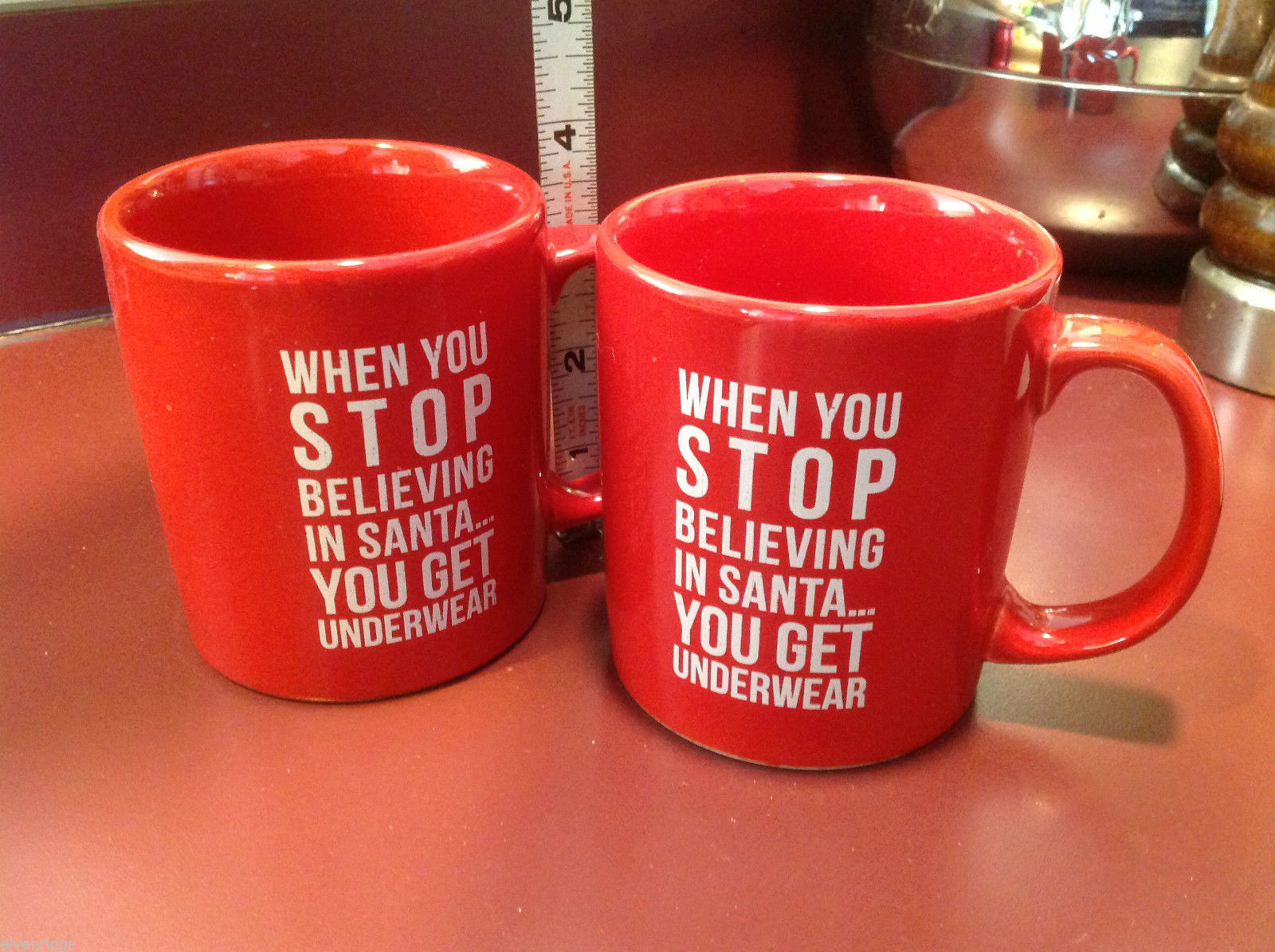 Ceramic Red Coffee Mug When You Stop Believing in Santa You Get Underwear
