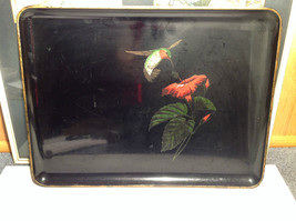 Black with Hummingbird on Front Serving Tray Platter Made in Japan Otagiri image 2