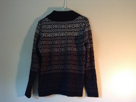 Black with White and Gray Soft Long Sleeve Croft and Barrow Sweater Size Medium image 4