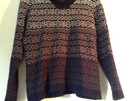 Black with White and Gray Soft Long Sleeve Croft and Barrow Sweater Size Medium image 3