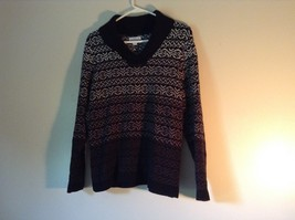 Black with White and Gray Soft Long Sleeve Croft and Barrow Sweater Size Medium image 2