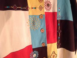 Blair 2 Piece Coordinating Brown Colored Flower Patchwork Shirt Pant Set  Size M image 3