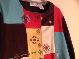 Blair 2 Piece Coordinating Brown Colored Flower Patchwork Shirt Pant Set  Size M image 2