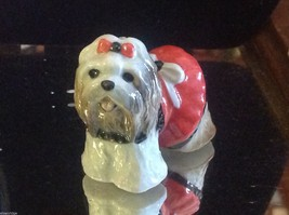 Ceramic miniature dog Shih Tzu  standing with p... - $49.49