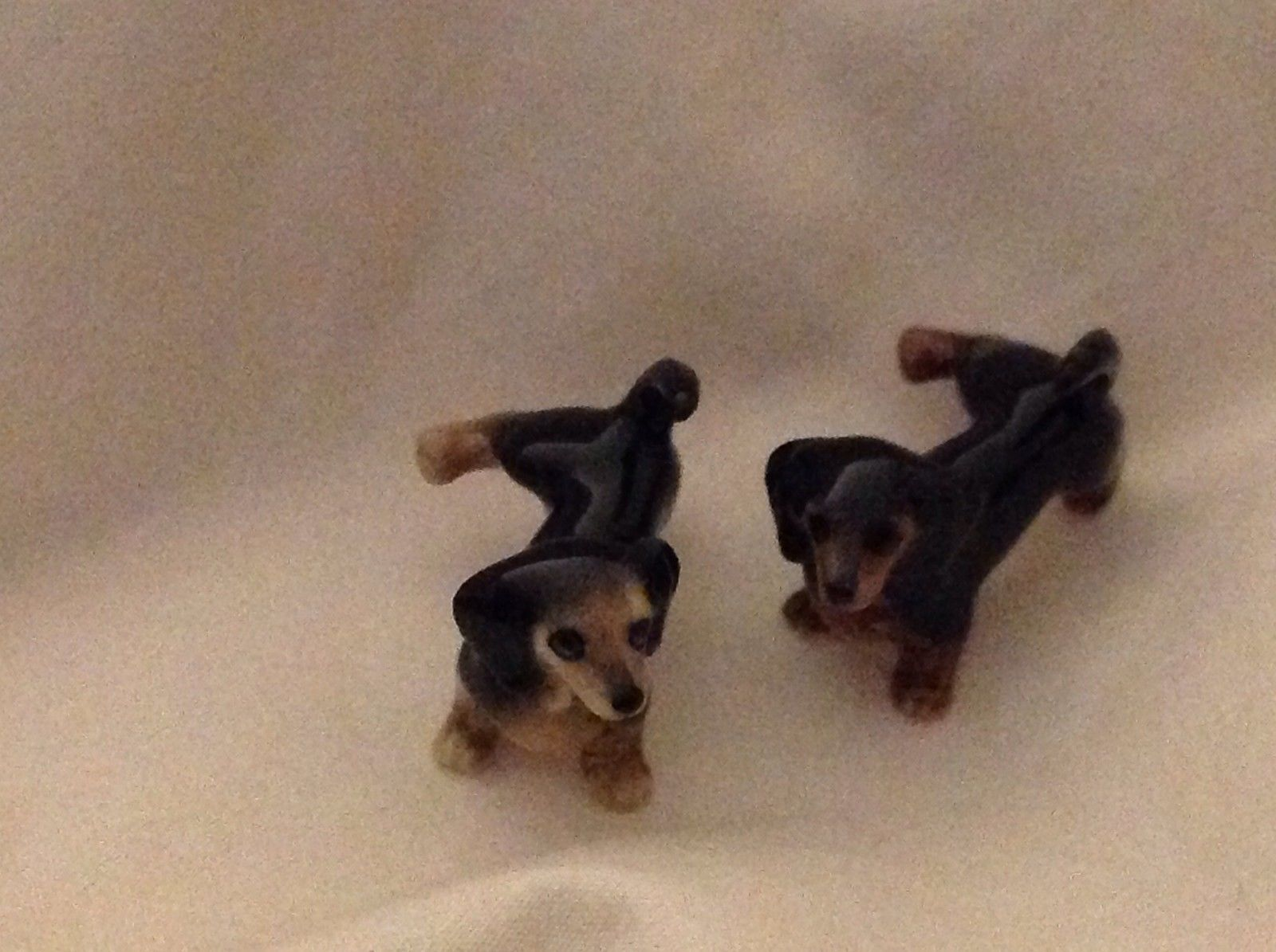 Ceramic miniature dog black dachshund dog lifting his leg to pee choice of face