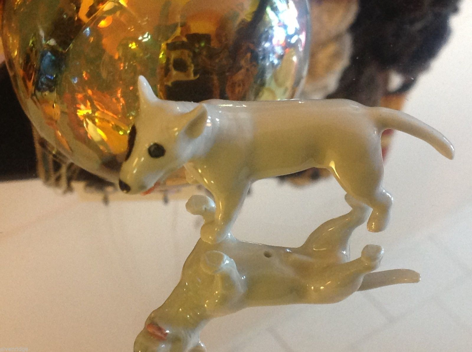 Ceramic miniature dog Staffordshire pit bull terrier standing