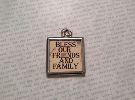 Bless Our Friends Charm Present Tie On Versatile Reversible Tag Metal Glass Tag image 2