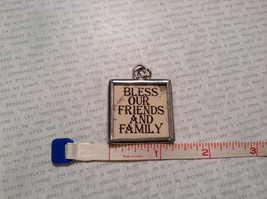 Bless Our Friends Charm Present Tie On Versatile Reversible Tag Metal Glass Tag image 3
