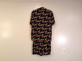Blouse Short Set ESCADA Size 6 Black with Yellow Banana Leaves Pattern image 2
