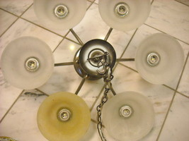 Chandelier with 6 metal and glass shades