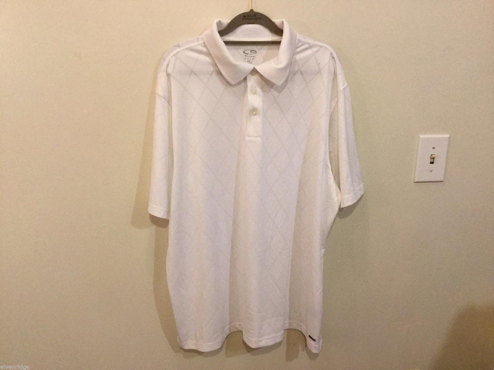 Champion Golf Mens White with Light Gray Diamond pattern Casual Shirt, Size XL