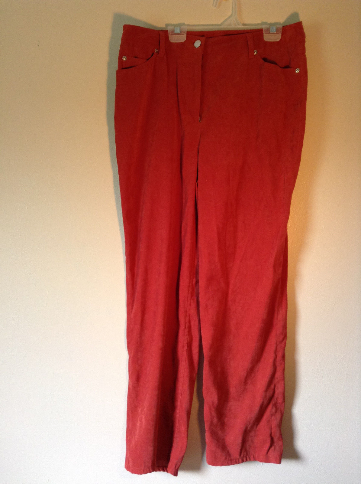 Chadwicks Red Long Pants Four Pockets Zipper and Snap Closure Size 12