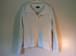Chaps White Long Sleeve 100 Percent Cotton Sweater Fancy Button at Neck Size L