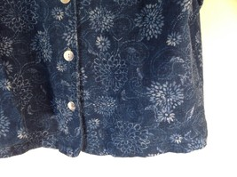 Blue Button Up Long Sleeve Floral Pattern Coldwater Creek Top Size M Made in USA image 4