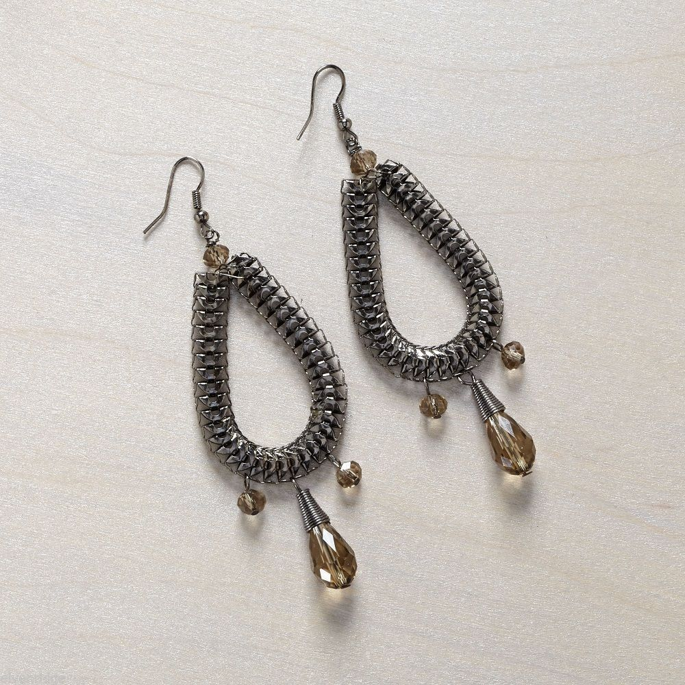 Chain Teardrop Earring hematite finish with champagne faceted glass beads