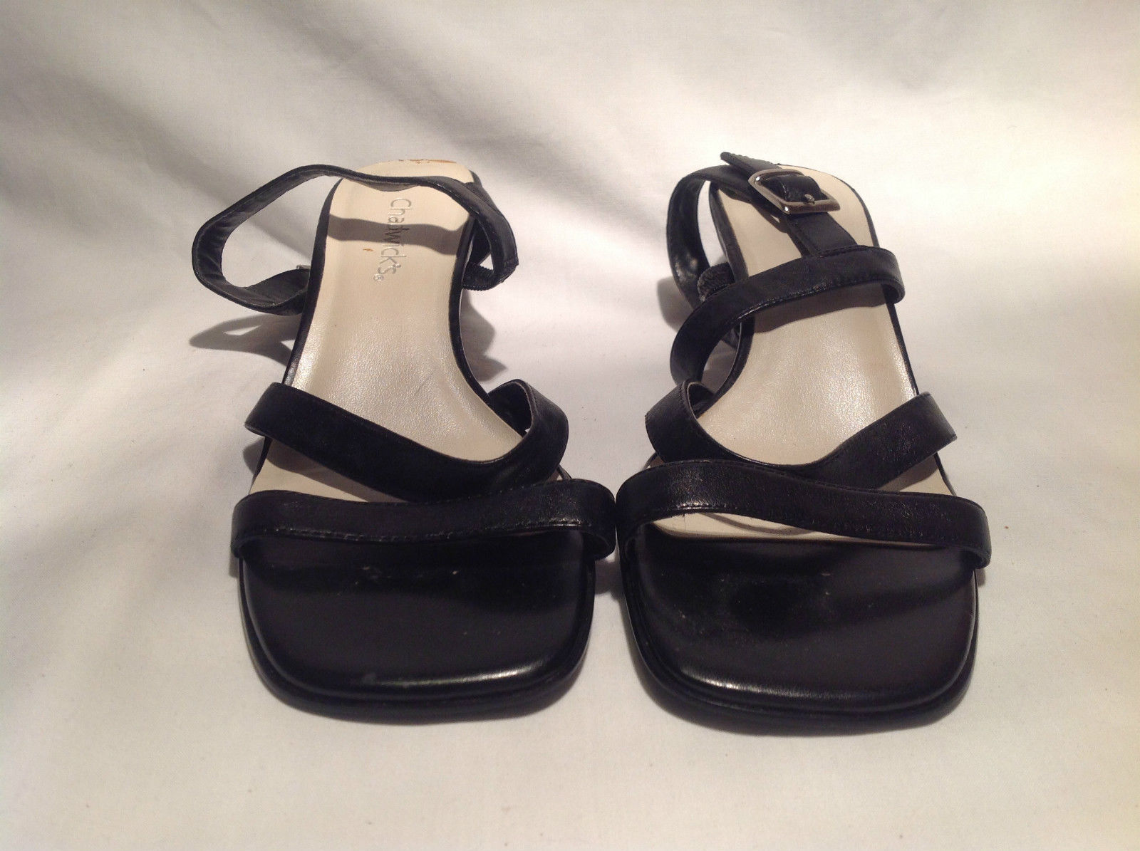 Chadwicks Strapped Black Heels Open Toe and Heel Leather Upper Size 6M