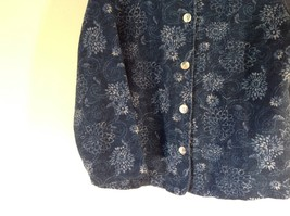 Blue Button Up Long Sleeve Floral Pattern Coldwater Creek Top Size M Made in USA image 5