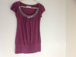 Charlotte Russe Juniors Mauve Bead  Embellished Short Sleeve Shirt Size Medium