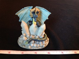 Blue Dragon Statue White Crystals Light Blue Wings image 2