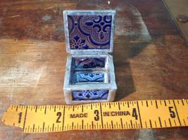 Blue Embossed Glass Ring Box Mirrored Bottom Paisley Designed Glass Handmade image 6