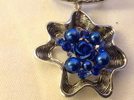 Blue Crystals and Stones with Blue Rose in Center Silver Tone Scarf Pendant image 6