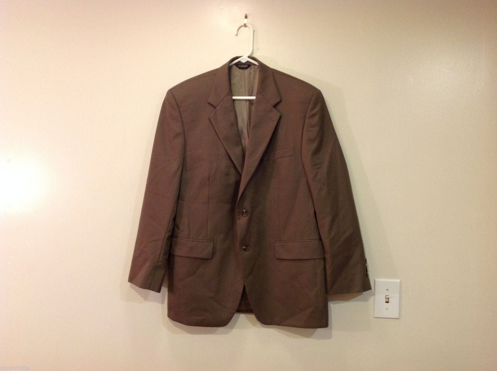 Chaps Two Buttons Brown wit Gray Hue 100% Wool Suit Jacket, Size 40R