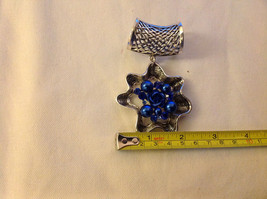 Blue Crystals and Stones with Blue Rose in Center Silver Tone Scarf Pendant image 2