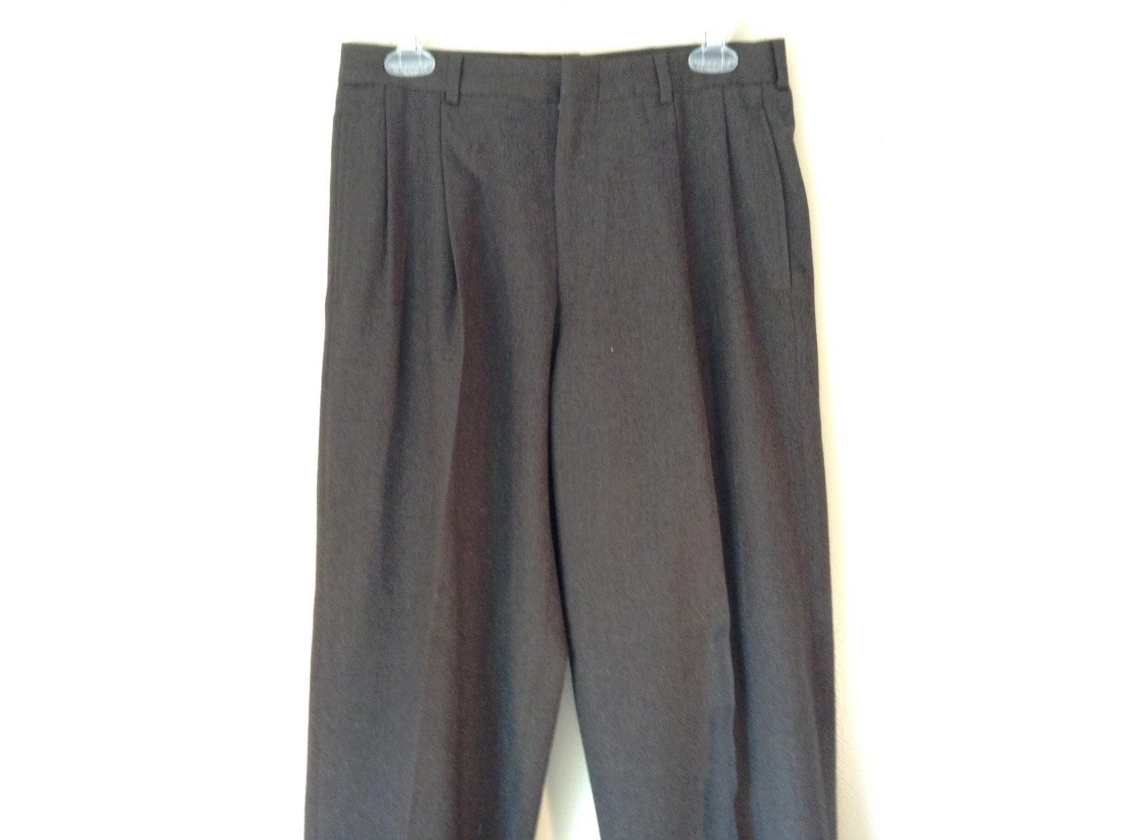 Charcoal Pleated Front Brooks Brothers Dress Pants 100 Percent Wool Made in USA