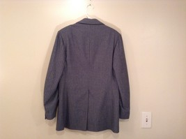 Blue Gray Light Stripes Wool Handmade Jacket Vest and  Pant 3 piece Suit image 3