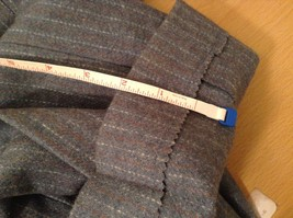 Blue Gray Light Stripes Wool Handmade Jacket Vest and  Pant 3 piece Suit image 8