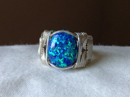Blue Multi Hue Synthetic Opal Stone Handmade Wire Real Silver Ring Size 7 image 7