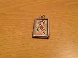 Charm Present Tie On Candy Cane Snowman Versatile Reversible Metal Glass Tag