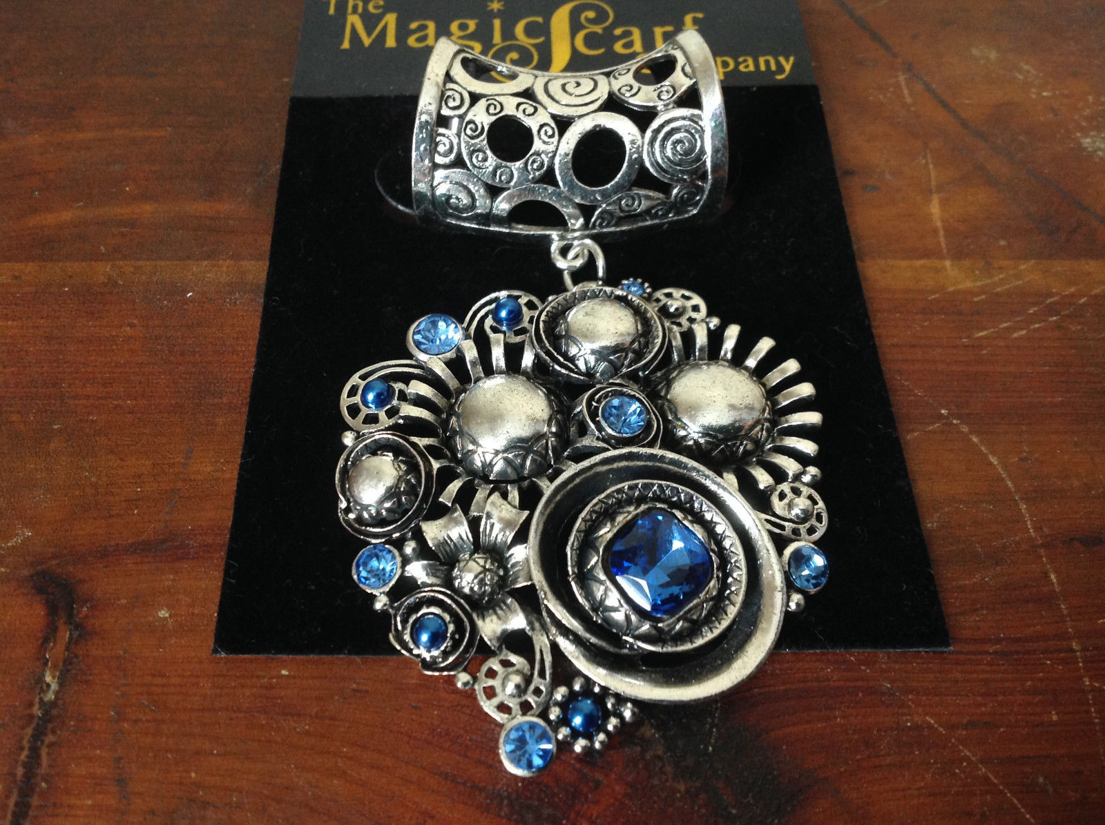 Charming Silver Tone Scarf Pendant Large and Small Blue Crystals by Magic Scarf